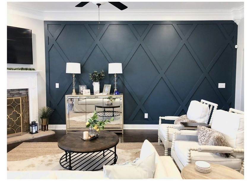 An accent wall in a living room
