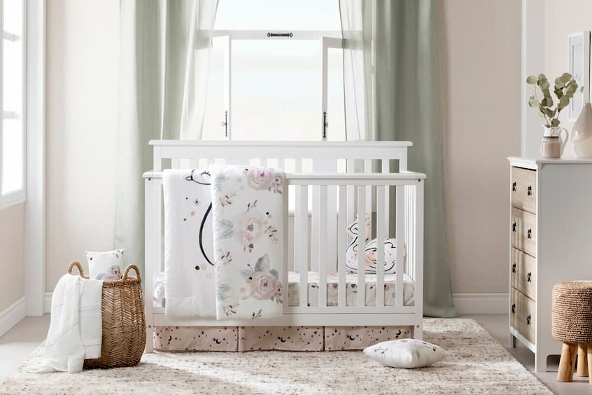 baby room with bed and decorative baby accessories