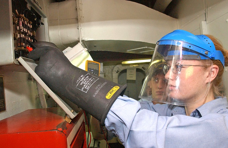 woman working with eye protection