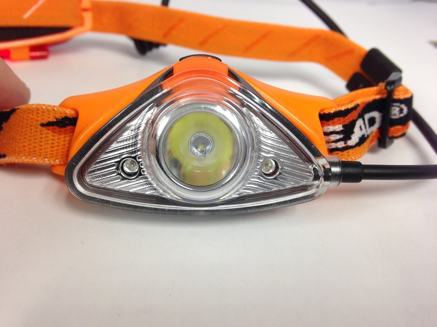 picture of an orange headlamp