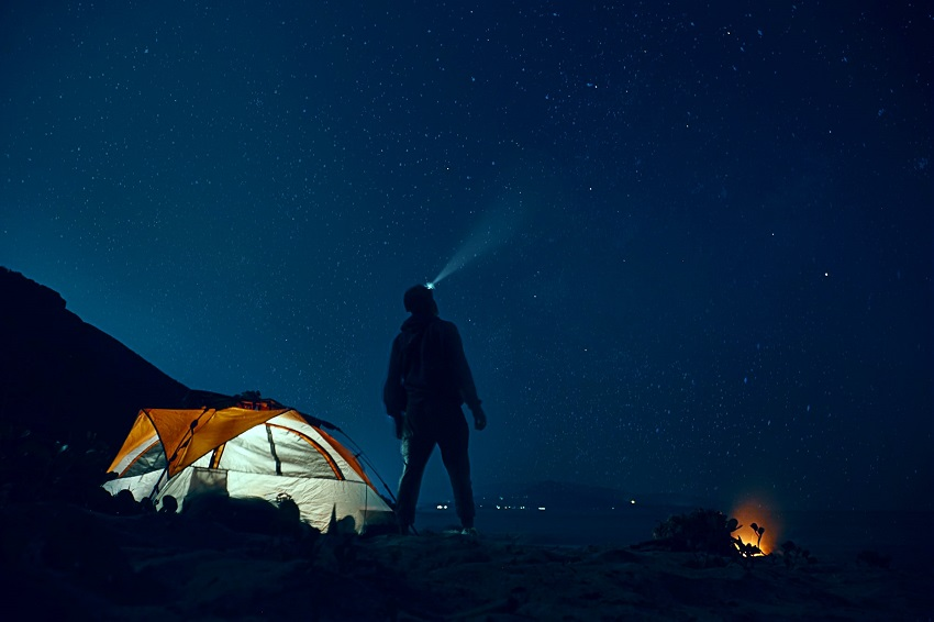 picture of a person with headlamp camping